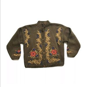 Vintage Gap Knitted Floral Print Cardigan Sweater